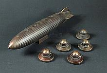 IS239A - Iron Sky - Prop Miniature Zepplin & 5 UFO Map Markers