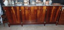 A Magnificent 19th Century Flame Walnut Empire Style Sideboard