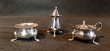 A Three Piece Silver - Plate Condiment Set