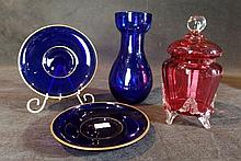 A Cranberry Glass Covered Vase