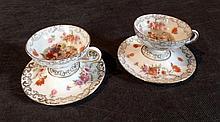 A Pair of Plau Porcelain Demi - Tass
