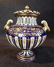 A 19th C Derby Cobalt Blue Enamel and Gilt Covered Pot - Pourri Vase and Cover