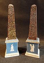 A Rare Pair of Pearl Ware Obelisks