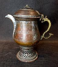 A 19th C Kashmiri Silver - Plate on Copper Kettle
