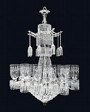 A Bohemian Etched Glass Chandelier