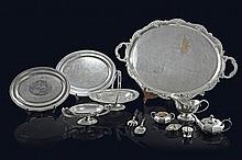 An Assorted Group of Silver-Plated Serving Dishes