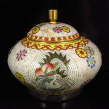 Hand Draw Chinese Gold-plated Famille Rose Porcelain Tea Caddy w Qianlong Mark