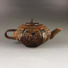 Chinese Ox Horn Teapot Carved Sages Meeting