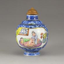 Chinese Qing Dy Blue And White+Famille Rose Porcelain Double Layers Turn Heart Snuff Bottle
