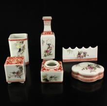 A Set Chinese Famille Rose Porcelain Study Room Tools w Marked
