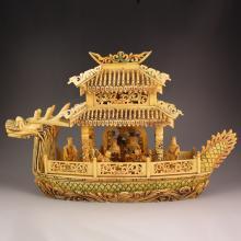 Vintage Chinese Ox Bone Dragon Head Big Boat Statue