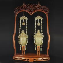 A Pair Chinese Qing Dynasty Hetian Jade Low Relief Palace Lanterns Statue