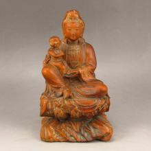 Hand Carved Chinese Boxwood Statue - Kwan-yin