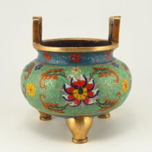 Handmade Chinese Gilted Bronze Cloisonne 3 Legs Incense Burner w Qianlong Mark