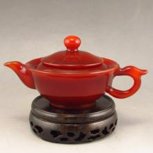 Beautiful Color Hand Carved Chinese Natural Hong Agate Teapot
