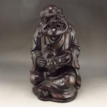 Superb Chinese Natural Black Sanders Inlay Silver Wire Statue - Dharma