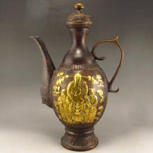 Vintage Chinese Ming Dy Bronze Gild Wine Pot Carved Fortune Taoism Deity w Xuande Mark
