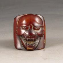 Hand Carved Ox Horn Ring w Dharma Head