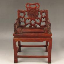 Chinese Natural Hua Li Wood Chair Statue