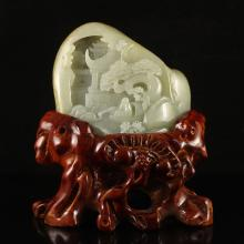 Hand Carved Chinese Natural Hetian Jade Statue w Fisherman