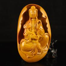 Chinese Natural Jade Pendant Carved Kwan-yin