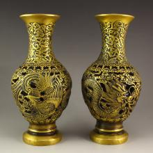 A Pair Chinese Brass Dragon Phoenix Vases