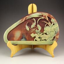Chinese Natural Jade Inkstone Carved Carp & Lotus