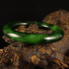 Inside Diameter 58 mm Chinese Natural Green Hetian Jade Bracelet