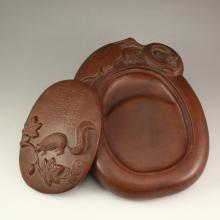 Chinese Zisha / Purple Clay Inkstone w Artist Signature