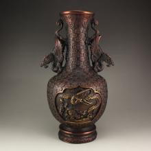 Vintage Chinese Bronze Dragon Phoenix Vase