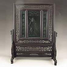 Chinese Natural Black Sanders Inlay Natural Green Hetian Jade Screen Carved Guan Yu