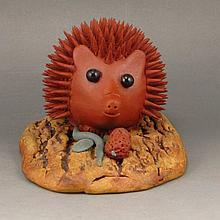 Fine Handmade Chinese Yixing Zisha Clay Statue - Hedgehog w Artist Signed