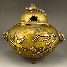 Chinese Brass Double Ears Incense Burner Marked