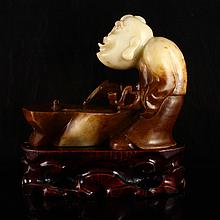 19Th C Hand Carved Chinese Natural Hetian Jade Statue - Judge
