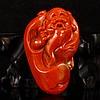 Superb Hand Carved Chinese Natural Nan Hong Agate Pendant - Long Life Old Man