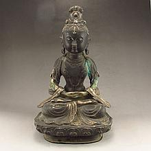 Chinese Qing Dy Bronze Statue - Seated Buddha w Qian Long Mark