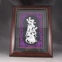 Handmade Chinese Genuine Silver Embroidery Mural w Dance Girls