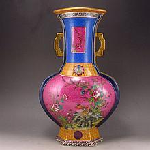Superb Hand-painted Chinese Famille Rose Porcelain Vase w Flower Bird & Yong Zheng Mark