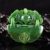 Hand Carved Chinese Natural Green Hetian Jade Pendant - Fortune Bat