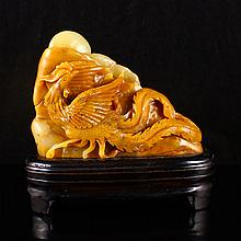 Hand Carved Chinese Natural Shoushan Stone Statue w Phoenix