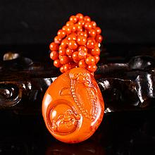 Hand Carved Chinese Natural Nan Hong Agate Pendant w Laughing Buddha Head