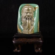 Superb Hand Carved Chinese Natural Shoushan Stone Statue w Long Life Old Man