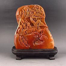 Hand Carved Chinese Shoushan Stone Statue - Sages Meeting