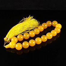 Beautiful Color Hand Carved Chinese Natural Yellow Jade Buddhist Prayer Beads