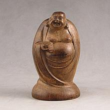 Hand Carved Chinese Natural Aloewood Statue - Laughing Buddha