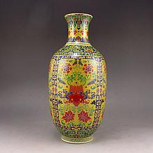 Hand-painted Chinese Colour Enamels Porcelain Vase w Yong Zheng Mark