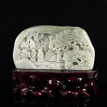 Superb Hand Carved Chinese Natural Hetian Jade Statue - Sages & Pine Tree
