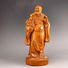 Hand Carved Chinese Natural Boxwood Hard Wood Statue -  Dharma