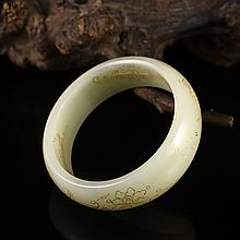 Hand Carved Chinese Natural Hetian Jade Gold Drawing Bracelet