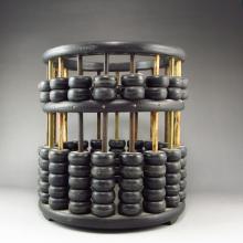 Handmade Chinese Ebony Wood Brush Pot Shape Abacus